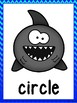 Shark 2D Shape Posters (Blue Ombre Chevron Trim)