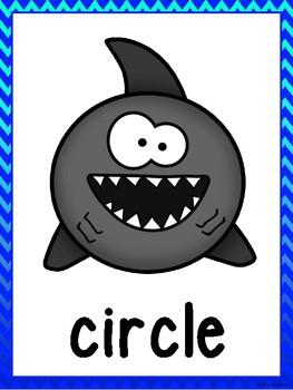 Shark 2D Shape Posters (Blue Ombre Chevron Trim)