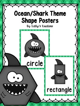 Ocean/Shark Theme 2D Shape Posters (Green Scallop)