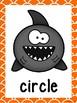 Ocean/Shark Theme 2D Shape Posters (Orange Trim)