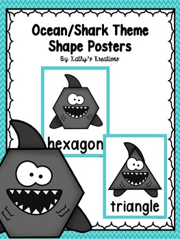Ocean 2D Shape Posters (Teal Blue Chevron)
