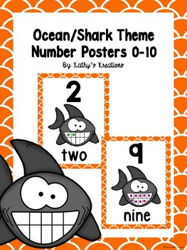 Ocean/Shark Theme Number Posters 0-10 (Orange Fish Scale Trim)