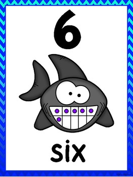 Shark Number Posters 0-10 (Blue Ombre Chevron)