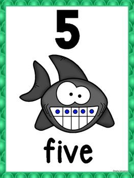 Ocean/Shark Theme Number Posters (Green Scallops)