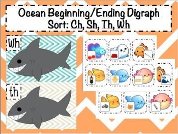 Ocean Shark Themed Beginning and Ending Digraph Sort: Sh,