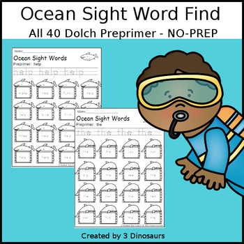 Ocean Sight Word Find: Preprimer