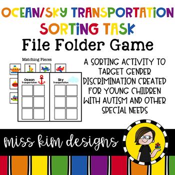 Ocean and Sky Transportation Sorting File Folder Game for