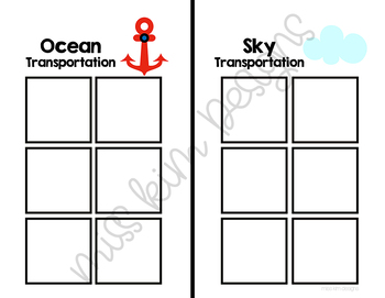 Ocean and Sky Transportation Sorting File Folder Game for Special Education