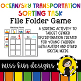 Folder Game: Ocean and Sky Transportation Sorting for Special Education