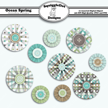 Ocean Spring Accordion Flowers Clip Art