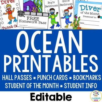 Ocean Theme: Student Essentials (punch cards, HW pass, hall passes and more!)
