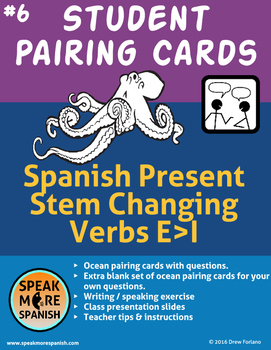 Ocean Student Task and Pairing Cards for Spanish Stem Chan