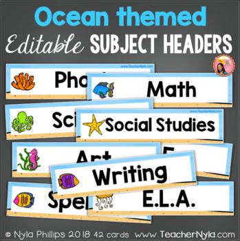 Ocean Subject Header Cards - Editable