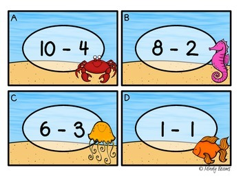 Subtraction Scoot Minuend Up to 10 - Ocean Themed