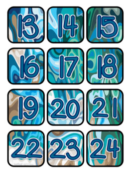Ocean Swirl Colors Pocket Chart Subject Schedule Cards & Calendar