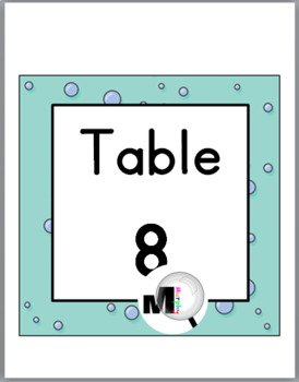 Ocean Theme Classroom Decor Table Numbers with Primary Font
