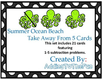 Ocean - Take away from 5 or less Subtraction Dry Erase Cards