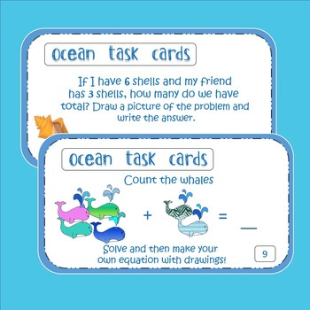 Ocean Task Cards - Math and Literacy - Common Core Aligned