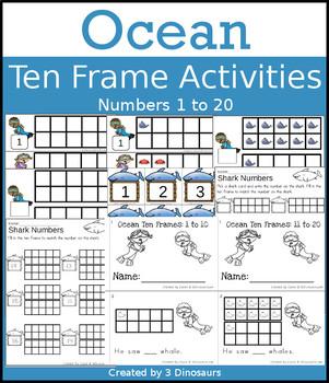 Ocean Ten Frame Activities (1-20)