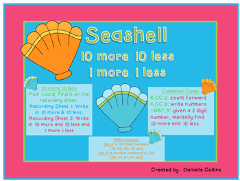 Ocean Theme 10 more 10 less (common core aligned)