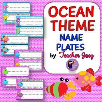 Ocean Theme Editable Name Plates