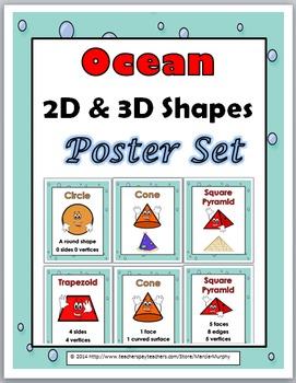 2D Shapes and 3D Shapes - Ocean Theme Classroom Decor