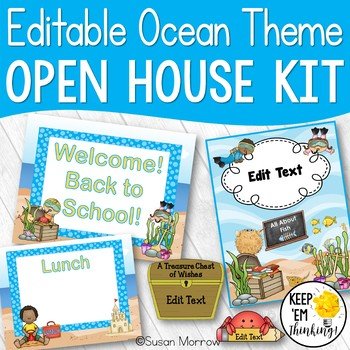 Ocean Theme Open House and Back to School Kit - Editable!