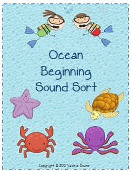 Beginning Sound Card Sort File Folder Game (OCEAN THEME)