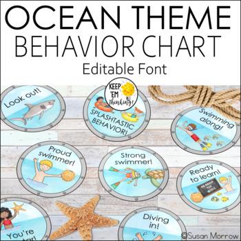 Ocean Theme Behavior Clip Chart - Editable! Ocean Theme Classroom Decor