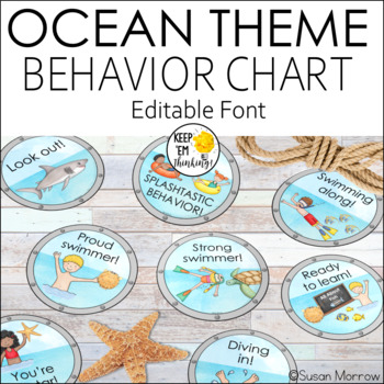 Ocean Theme Behavior Clip Chart - Editable! Ocean Theme Classroom Decor