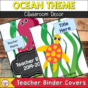Ocean Theme Class Decor- Teacher Binder Cover and Spines