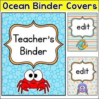 Ocean Theme Binder Covers
