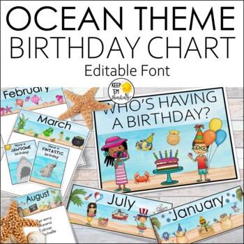 Ocean Theme Birthday Clip Chart Classroom Decor