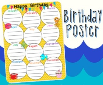 Ocean Theme Birthday Poster   All Ages