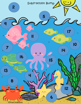Ocean Theme Bump Game ~ Addition, Subtraction, Multiplication Freebie