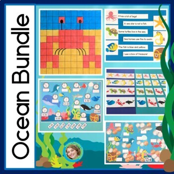 Ocean Theme Bundle: Reading, Hundreds Charts, Telling Time, Patterns & Money