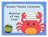 Ocean Theme Calendar Months of the Year