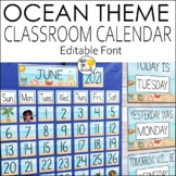 Classroom Calendar Set Editable  - Ocean Theme Classroom Decor