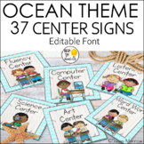 Ocean Theme Center Signs Editable!: Ocean Theme Classroom Decor