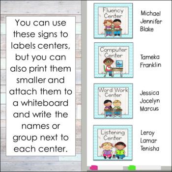 Ocean Theme Center Signs Editable!: Ocean Theme Classroom Decor