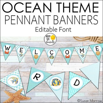 Ocean Theme Welcome Banners - Editable Ocean Theme Decor