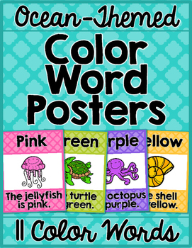 Ocean Theme Classroom Color Words Posters