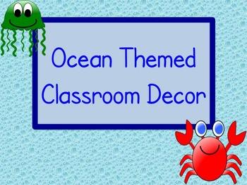 Ocean Theme Classroom Decor