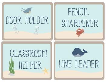 Ocean Theme - Classroom Decor - Classroom Jobs Chart