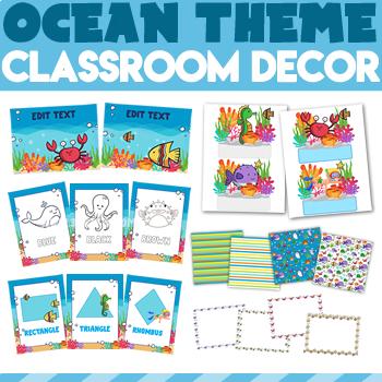 Ocean Theme Classroom Decor | Classroom Themes Decor Bundle