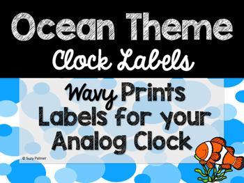 Ocean Theme Classroom Decor: Clock Labels