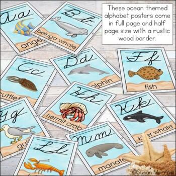 Ocean Theme Cursive Alphabet Posters: Ocean Theme Classroom Decor