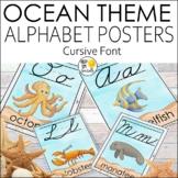 Ocean Theme Cursive Alphabet Posters | Ocean Theme Classro
