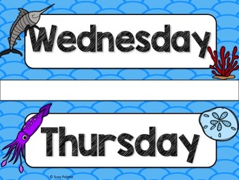 Ocean Theme Classroom Decor: Days of the Week