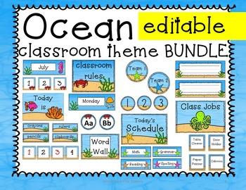 Ocean Theme Classroom Decor - Editable! Calendar, Schedule, Nametags, labels...